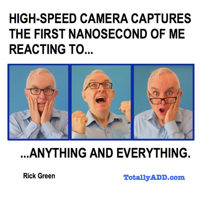 High speed camera captures the first nanaosecond of me reacting to... anything (Rick Green has 3 completely different reactions)