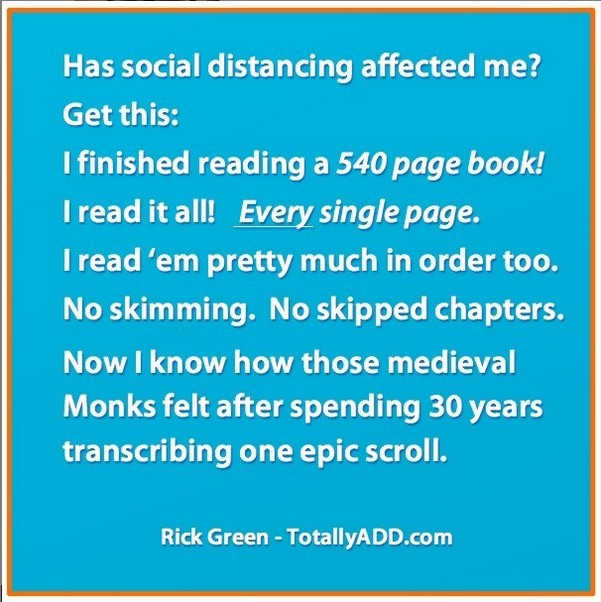 Meme about social distancing by Rick Green
