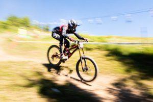 Racing on a bike