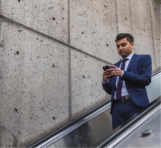 Man scrolls on phone