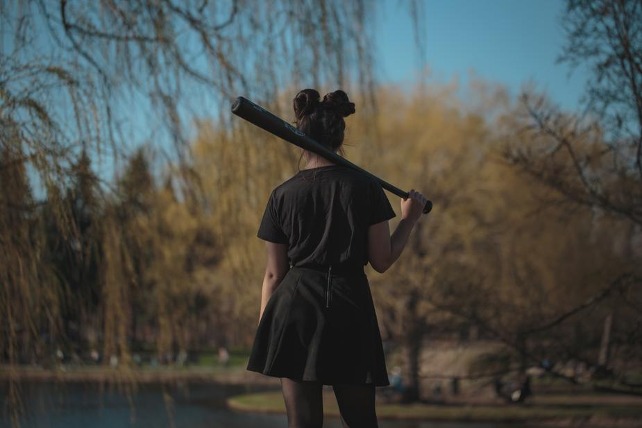 A women playing baseball